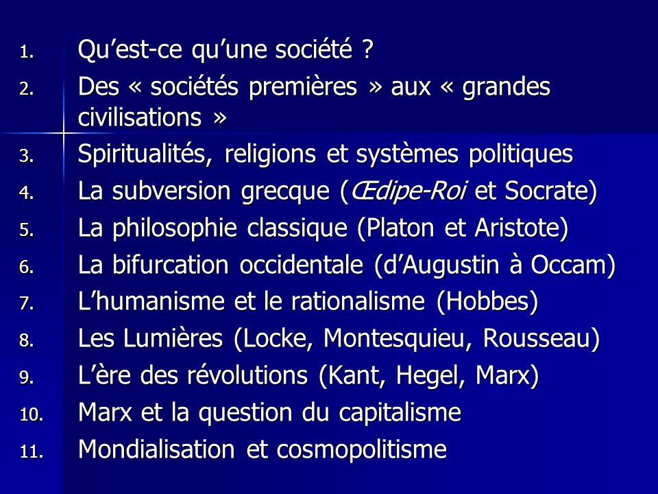 1. Quest-ce quune société ? 2. Des « sociétés premières » aux « grandes civilisations » 3. Spiritualités, religions et systèmes politiques 4. La subve