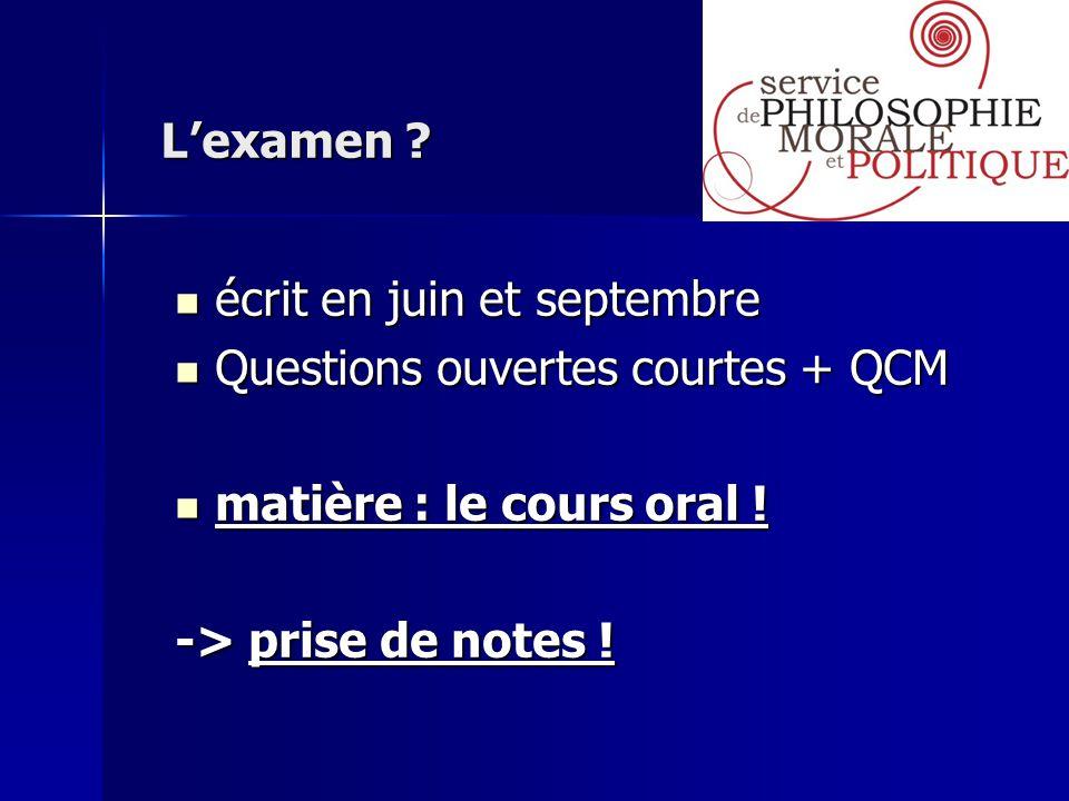 Lexamen ? Lexamen ? écrit en juin et septembre écrit en juin et septembre Questions ouvertes courtes + QCM Questions ouvertes courtes + QCM matière :