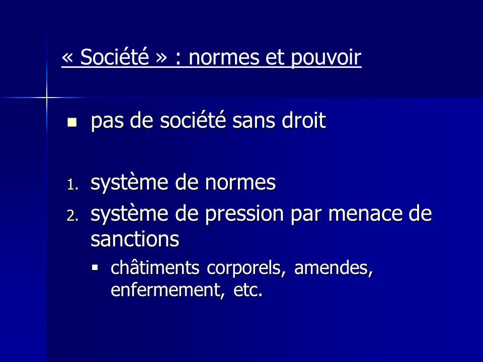 « Société » : normes et pouvoir pas de société sans droit pas de société sans droit 1. système de normes 2. système de pression par menace de sanction