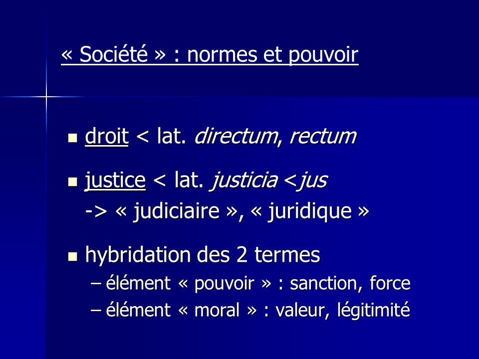 « Société » : normes et pouvoir droit < lat. directum, rectum droit < lat. directum, rectum justice < lat. justicia <jus justice < lat. justicia <jus