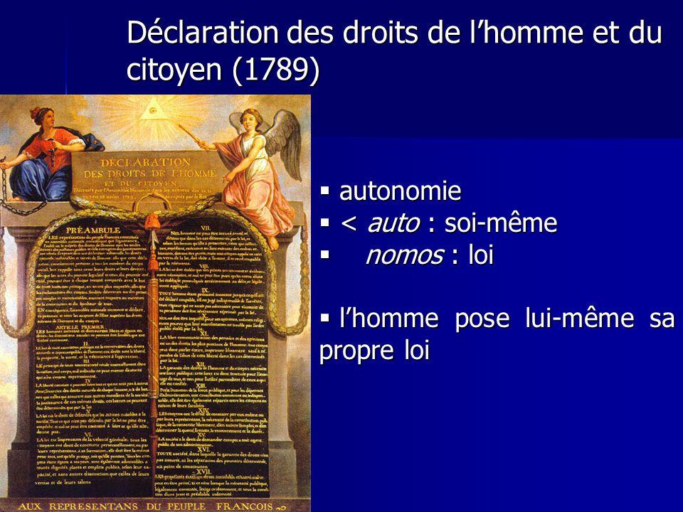 Déclaration des droits de lhomme et du citoyen (1789) autonomie autonomie < auto : soi-même < auto : soi-même nomos : loi nomos : loi lhomme pose lui-