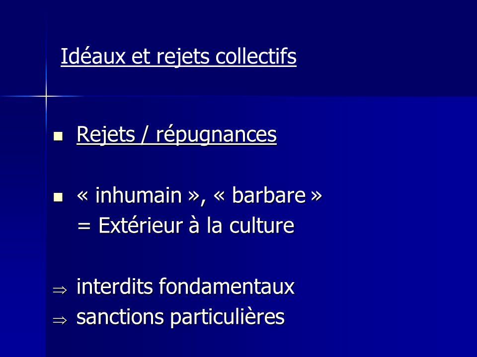 Idéaux et rejets collectifs Rejets / répugnances Rejets / répugnances « inhumain », « barbare » « inhumain », « barbare » = Extérieur à la culture int