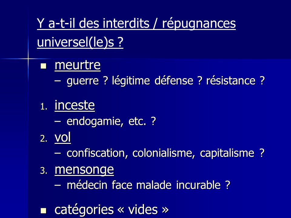 Y a-t-il des interdits / répugnances universel(le)s ? meurtre meurtre –guerre ? légitime défense ? résistance ? 1. inceste –endogamie, etc. ? 2. vol –