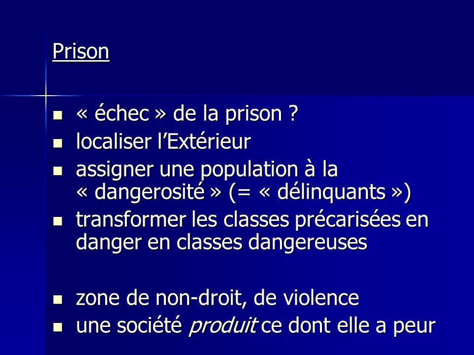Prison « échec » de la prison ? « échec » de la prison ? localiser lExtérieur localiser lExtérieur assigner une population à la « dangerosité » (= « d