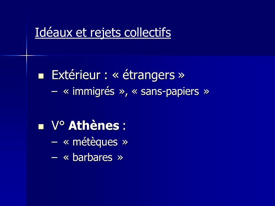 Idéaux et rejets collectifs Extérieur : « étrangers » Extérieur : « étrangers » –« immigrés », « sans-papiers » V° Athènes : V° Athènes : –« métèques