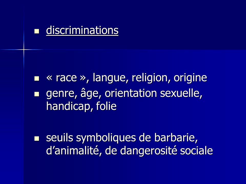 discriminations discriminations « race », langue, religion, origine « race », langue, religion, origine genre, âge, orientation sexuelle, handicap, fo