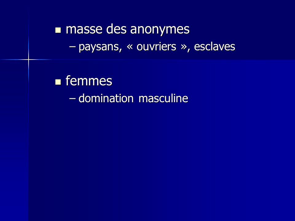 masse des anonymes masse des anonymes –paysans, « ouvriers », esclaves femmes femmes –domination masculine