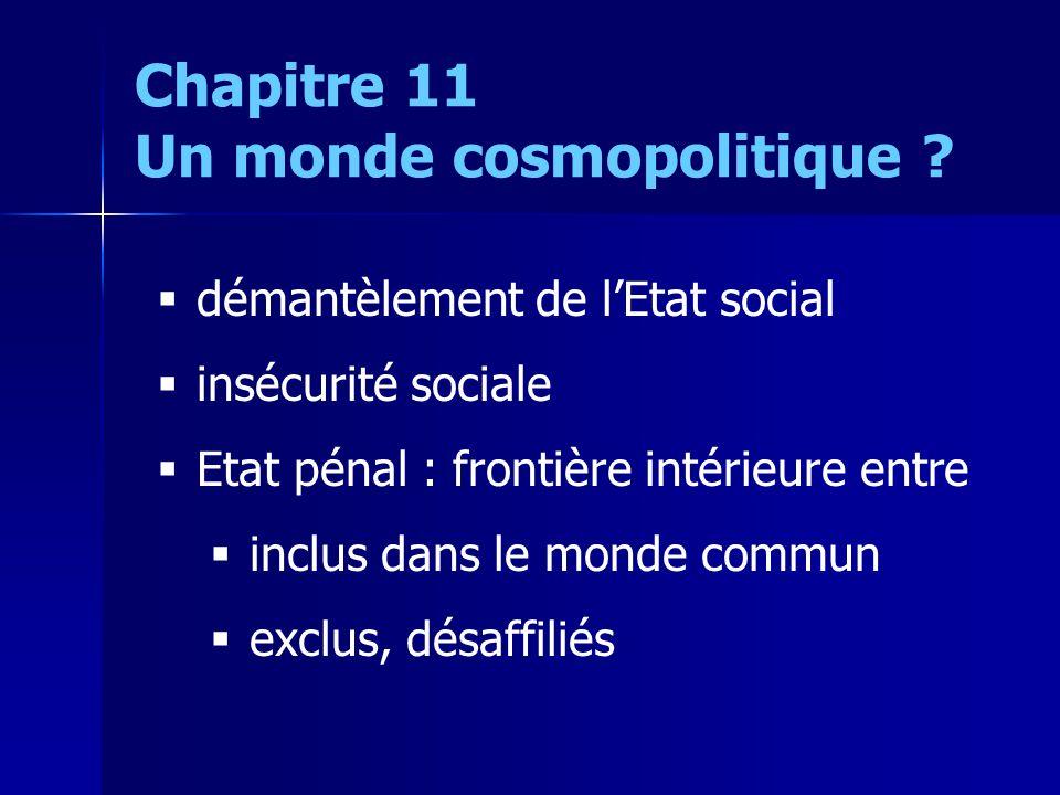 démantèlement de lEtat social insécurité sociale Etat pénal : frontière intérieure entre inclus dans le monde commun exclus, désaffiliés Chapitre 11 U