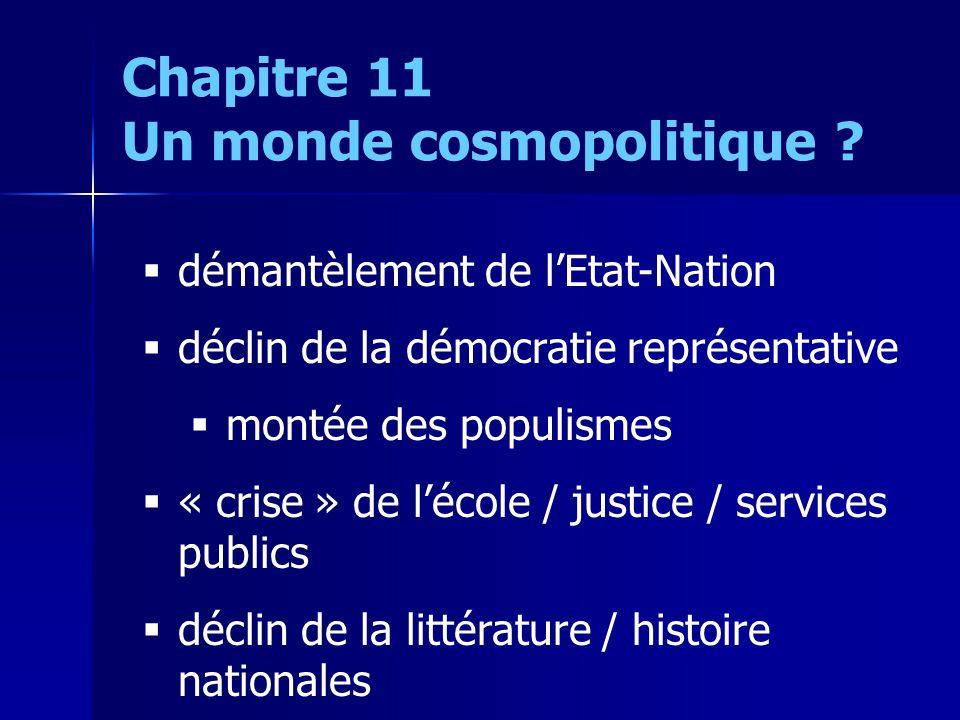 démantèlement de lEtat-Nation déclin de la démocratie représentative montée des populismes « crise » de lécole / justice / services publics déclin de