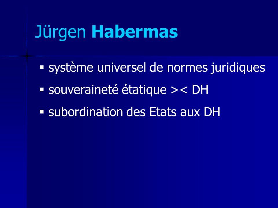 Jürgen Habermas système universel de normes juridiques souveraineté étatique >< DH subordination des Etats aux DH