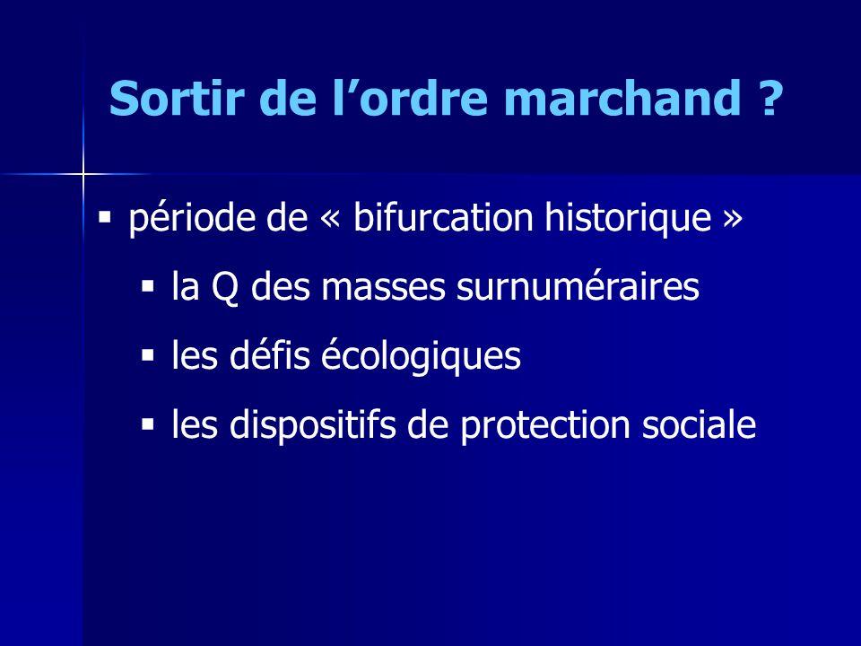 période de « bifurcation historique » la Q des masses surnuméraires les défis écologiques les dispositifs de protection sociale Sortir de lordre marchand