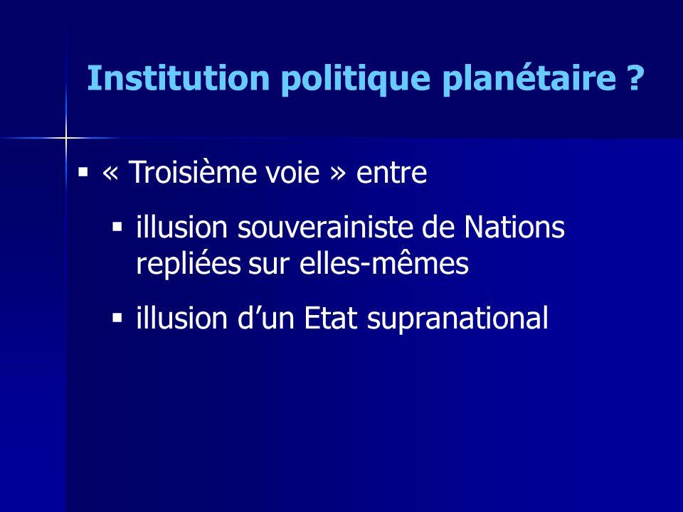 « Troisième voie » entre illusion souverainiste de Nations repliées sur elles-mêmes illusion dun Etat supranational Institution politique planétaire ?