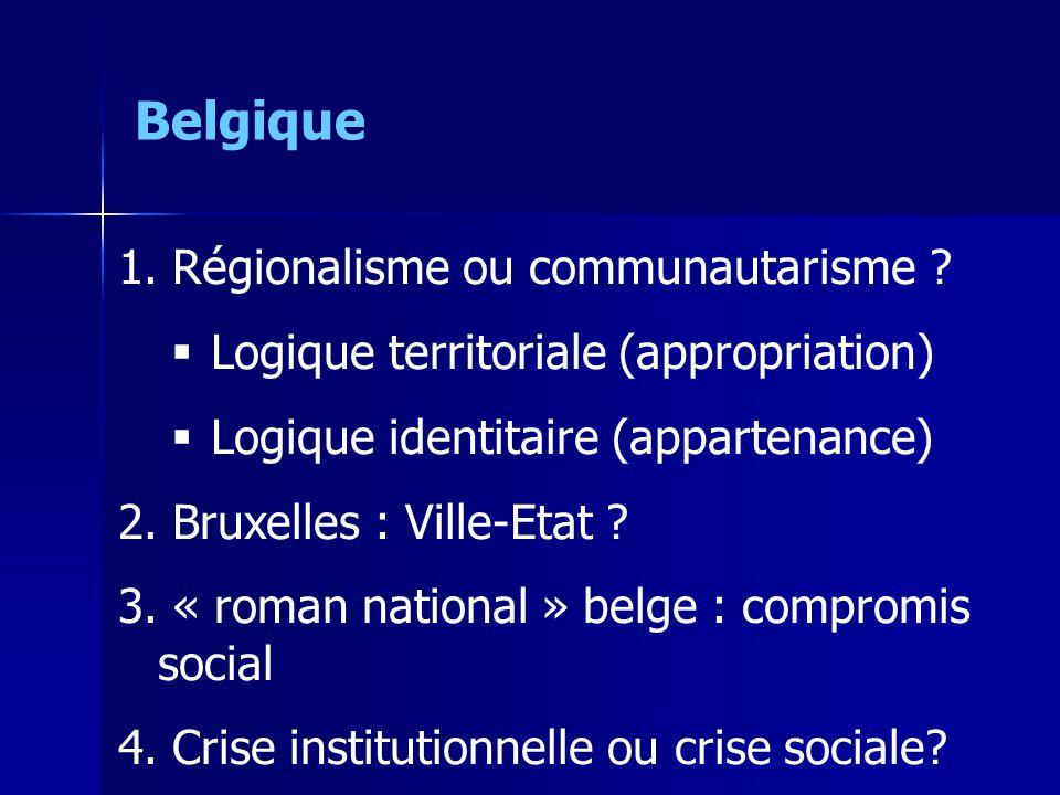 1. Régionalisme ou communautarisme ? Logique territoriale (appropriation) Logique identitaire (appartenance) 2. Bruxelles : Ville-Etat ? 3. « roman na