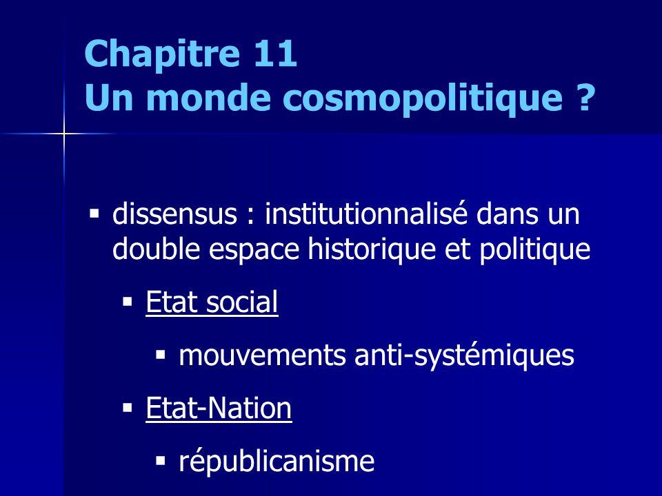 dissensus : institutionnalisé dans un double espace historique et politique Etat social mouvements anti-systémiques Etat-Nation républicanisme Chapitr