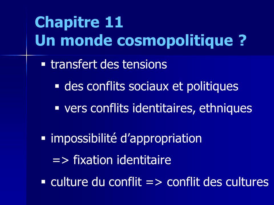 transfert des tensions des conflits sociaux et politiques vers conflits identitaires, ethniques impossibilité dappropriation => fixation identitaire c