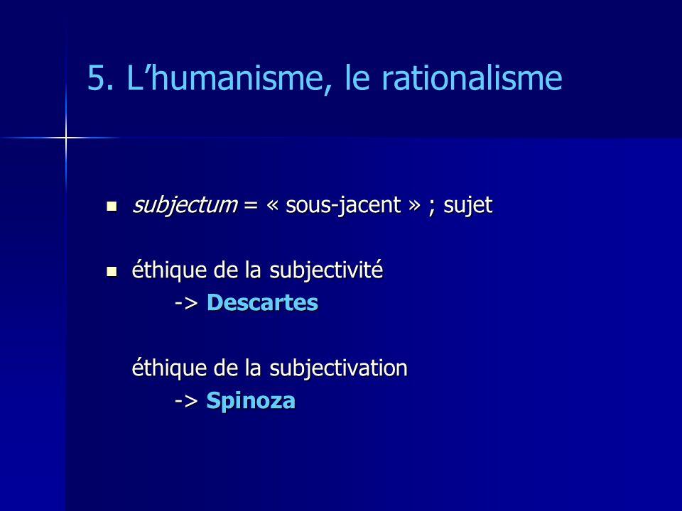 5. Lhumanisme, le rationalisme subjectum = « sous-jacent » ; sujet subjectum = « sous-jacent » ; sujet éthique de la subjectivité éthique de la subjec