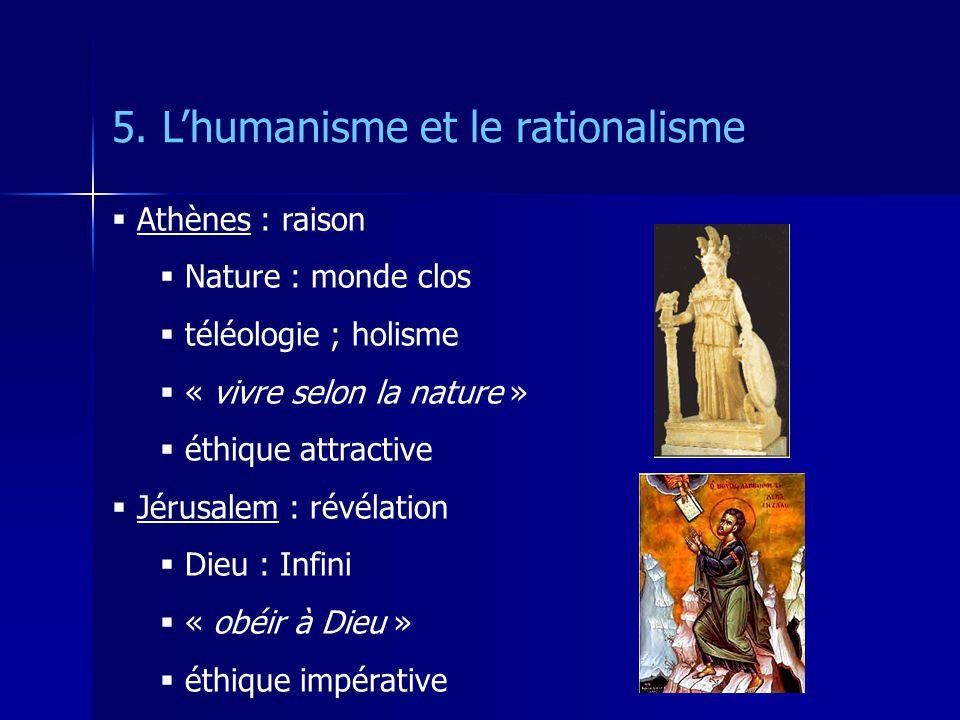 5. Lhumanisme et le rationalisme Athènes : raison Nature : monde clos téléologie ; holisme « vivre selon la nature » éthique attractive Jérusalem : ré