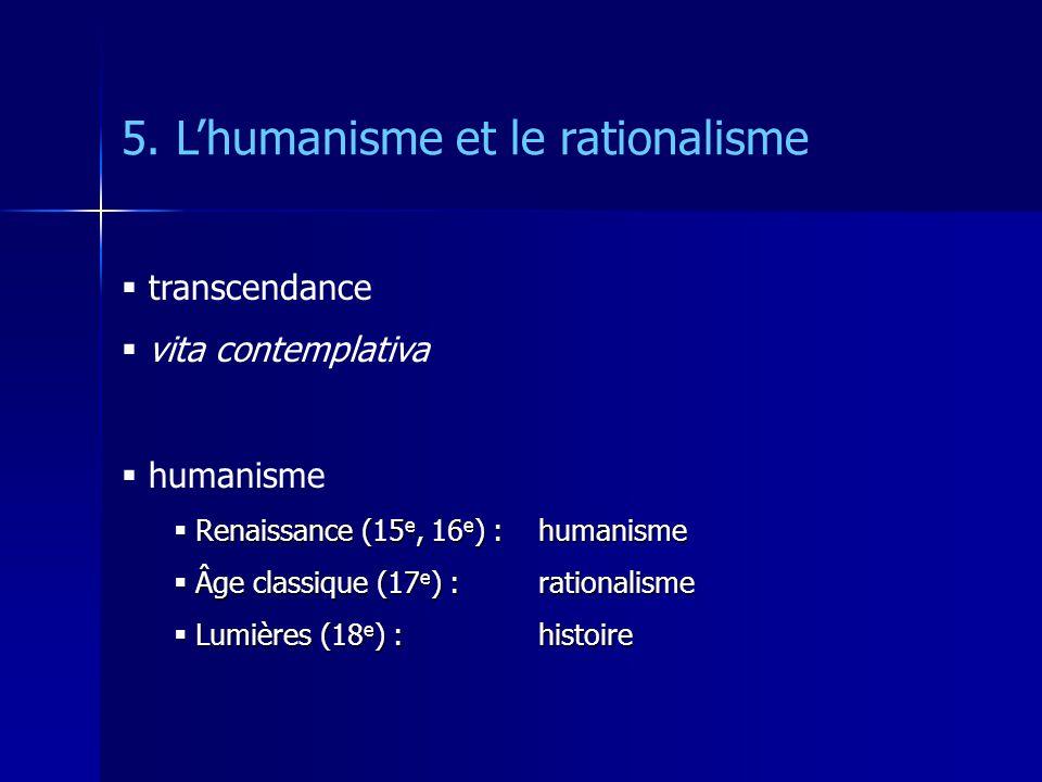 5. Lhumanisme et le rationalisme transcendance vita contemplativa humanisme Renaissance (15 e, 16 e ) : humanisme Renaissance (15 e, 16 e ) : humanism