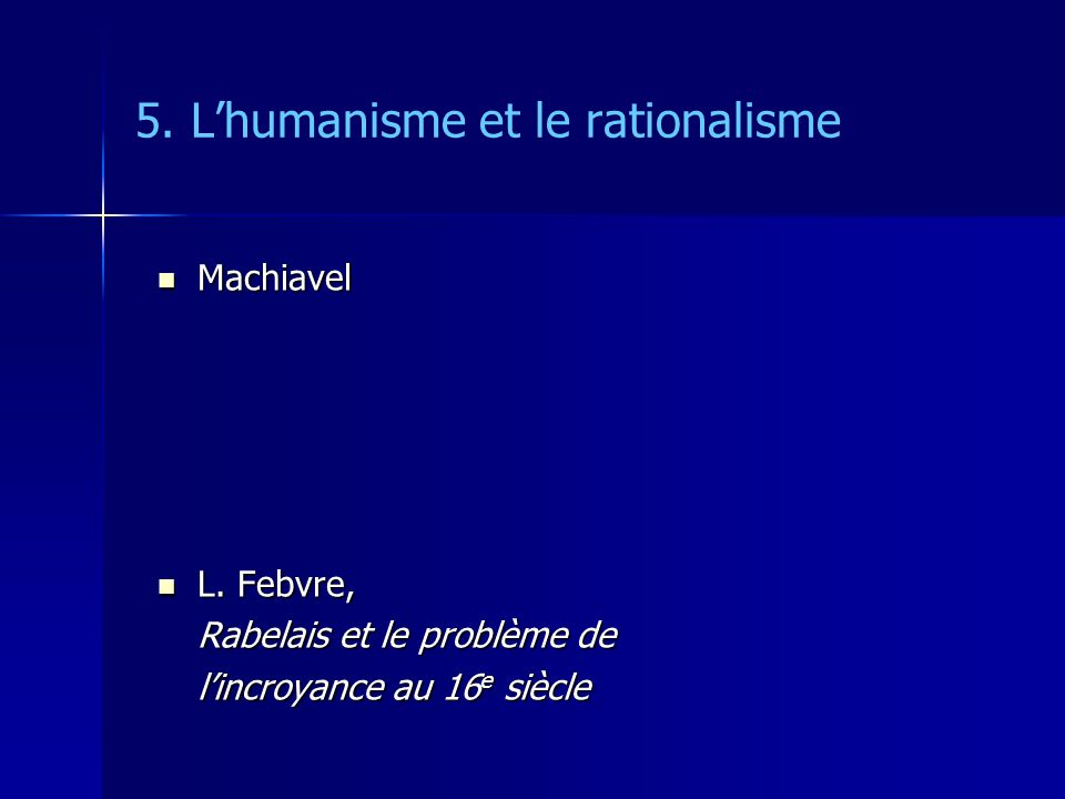 Descartes : Léthique de la subjectivité 2.La métaphysique sujet fondement sujet fondement pas absolu finitude finitude « infini positif » = Dieu « infini positif » = Dieu Pascal : « Dieu de philosophe » Pascal : « Dieu de philosophe » « chiquenaude » « chiquenaude »