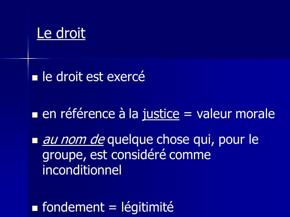 le droit est exercé en référence à la justice = valeur morale au nom de quelque chose qui, pour le groupe, est considéré comme inconditionnel fondemen