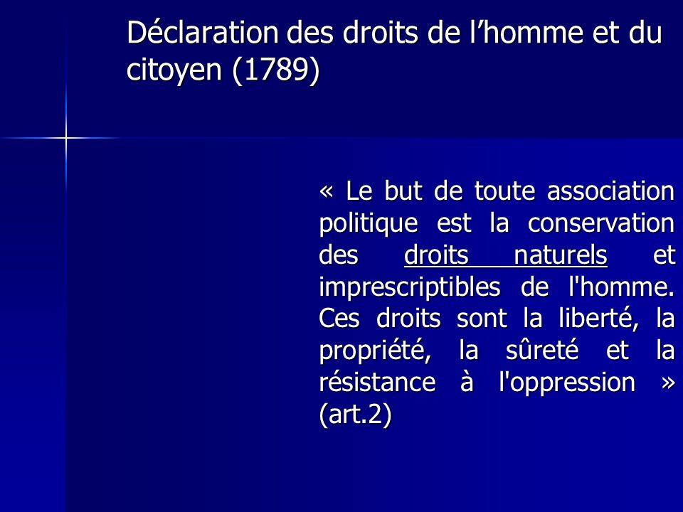 Déclaration des droits de lhomme et du citoyen (1789) « Le but de toute association politique est la conservation des droits naturels et imprescriptib