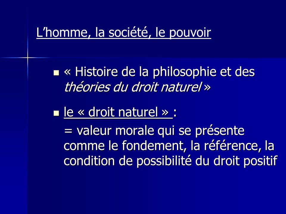 Lhomme, la société, le pouvoir « Histoire de la philosophie et des théories du droit naturel » « Histoire de la philosophie et des théories du droit n