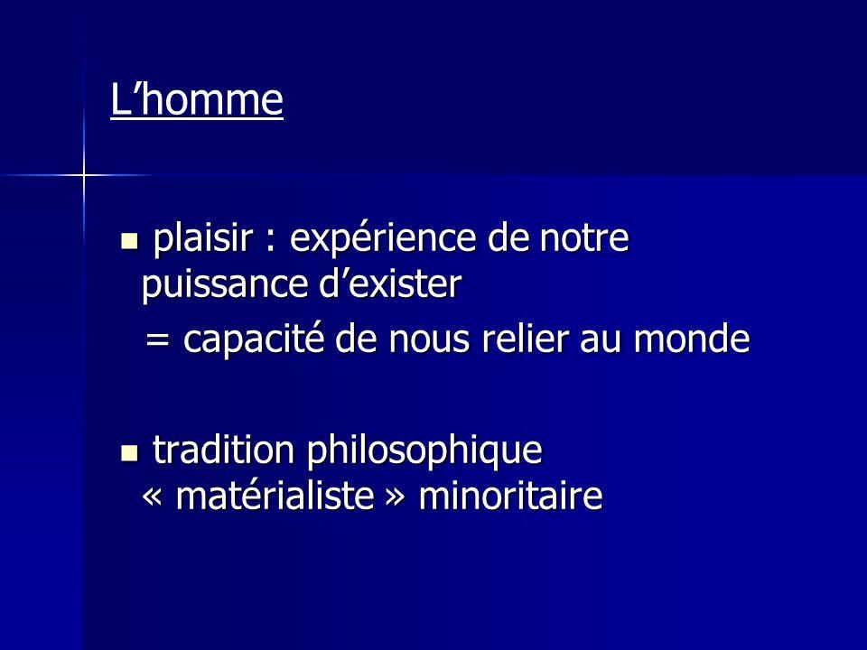 tradition « matérialiste » minoritaire tradition « matérialiste » minoritaire Epicure (3 e AC) Epicure (3 e AC) hédonè : plaisir hédonè : plaisir Lhomme