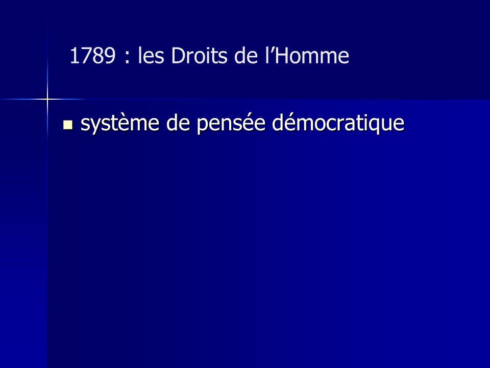 1789 : les Droits de lHomme système de pensée démocratique système de pensée démocratique