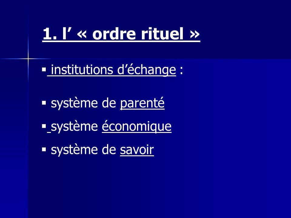 institutions déchange : système de parenté système économique système de savoir 1. l « ordre rituel »