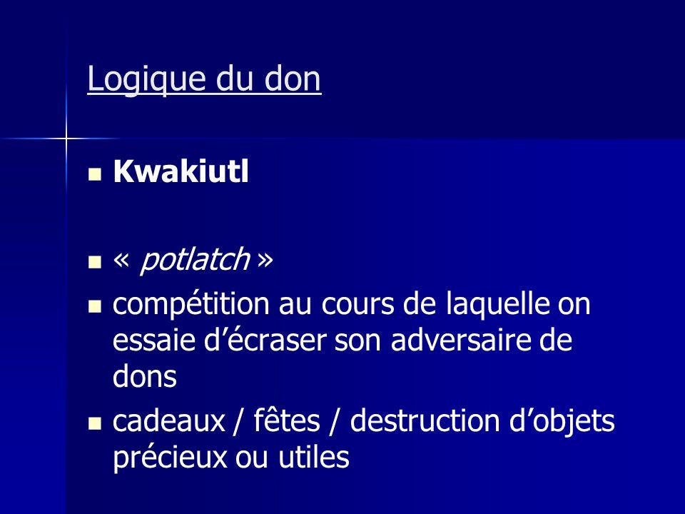 Logique du don Kwakiutl « potlatch » compétition au cours de laquelle on essaie décraser son adversaire de dons cadeaux / fêtes / destruction dobjets