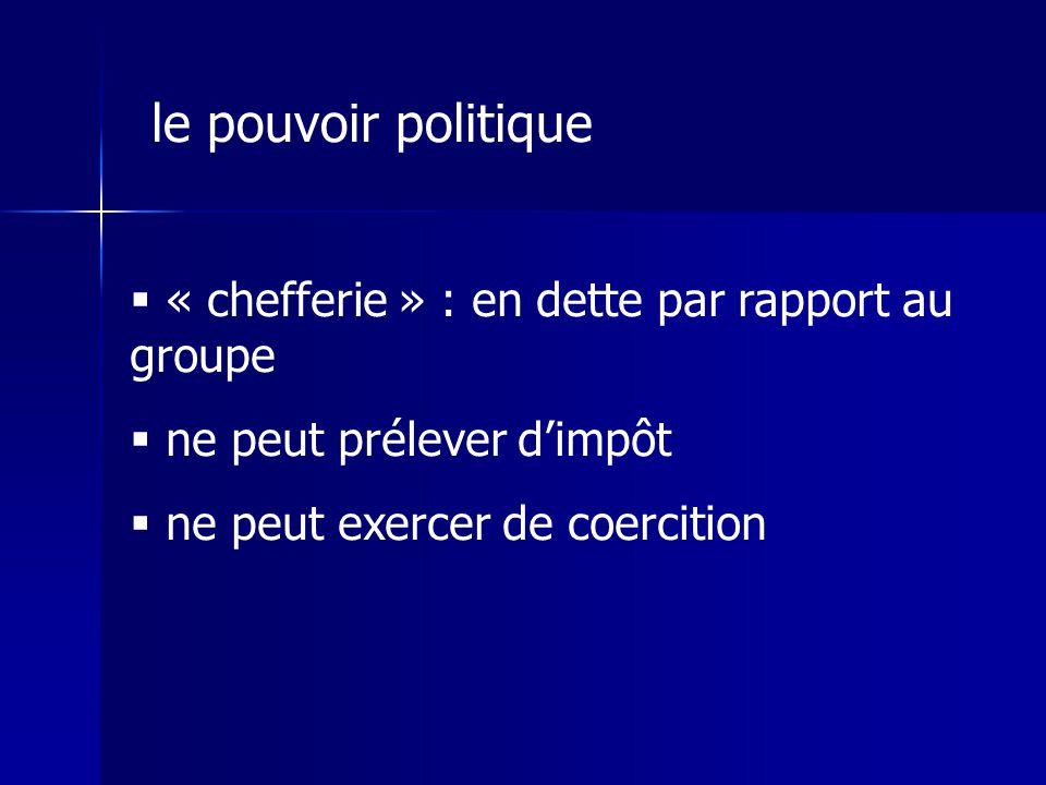 « chefferie » : en dette par rapport au groupe ne peut prélever dimpôt ne peut exercer de coercition