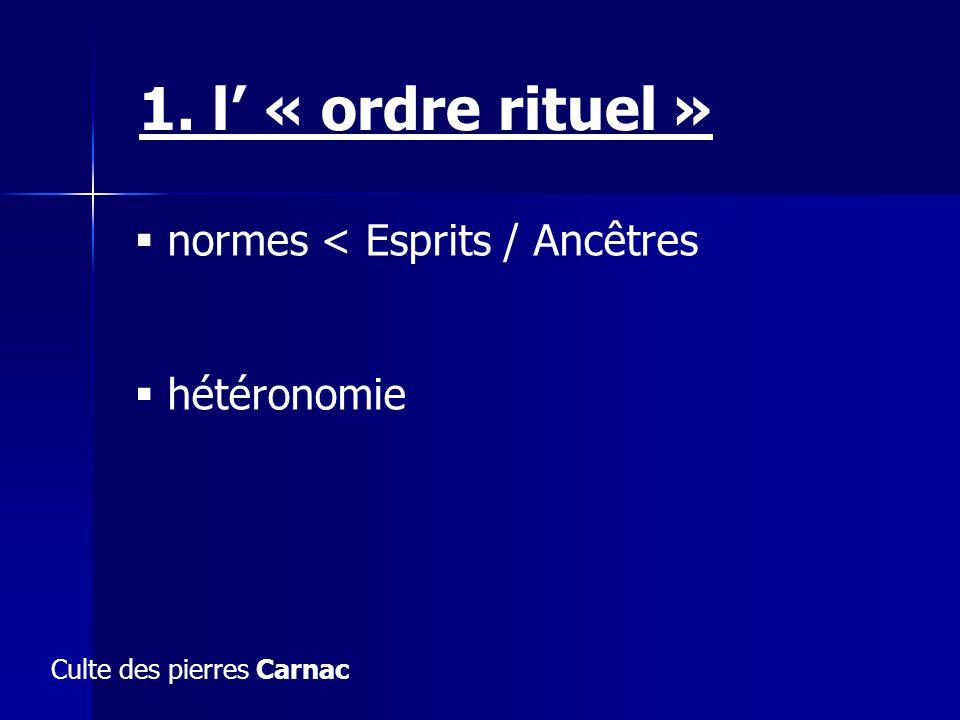 normes < Esprits / Ancêtres hétéronomie 1. l « ordre rituel » Culte des pierres Carnac