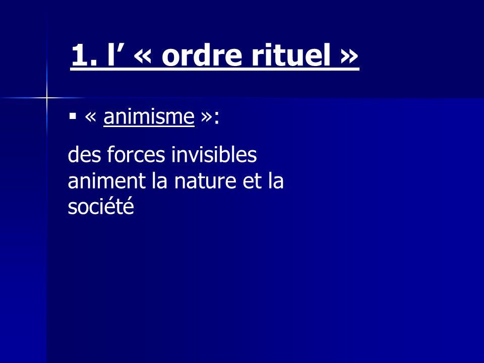 « animisme »: des forces invisibles animent la nature et la société 1. l « ordre rituel »
