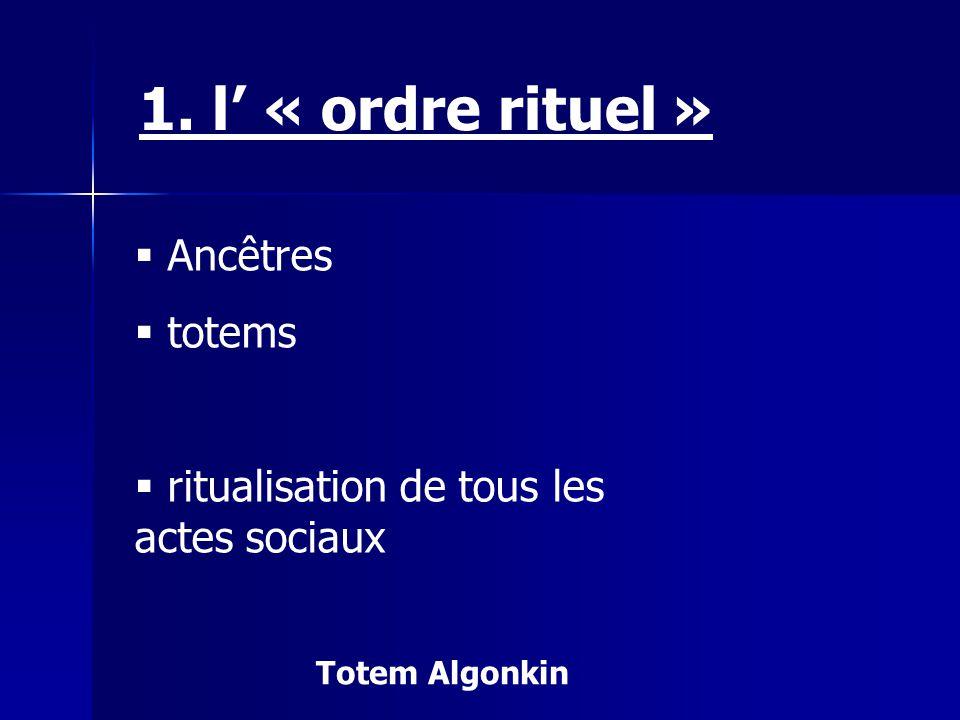 Ancêtres totems ritualisation de tous les actes sociaux 1. l « ordre rituel » Totem Algonkin