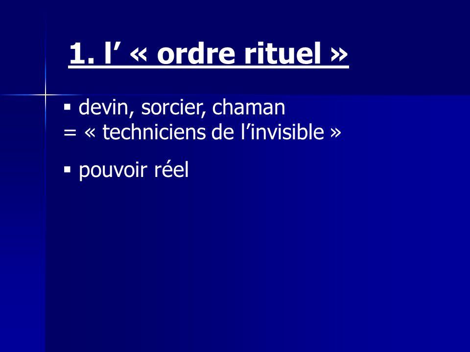 devin, sorcier, chaman = « techniciens de linvisible » pouvoir réel 1. l « ordre rituel »