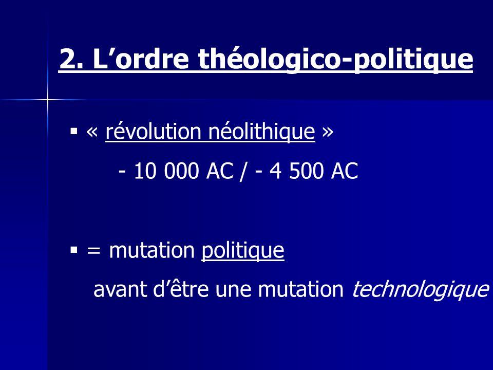 « révolution néolithique » - 10 000 AC / - 4 500 AC = mutation politique avant dêtre une mutation technologique 2. Lordre théologico-politique
