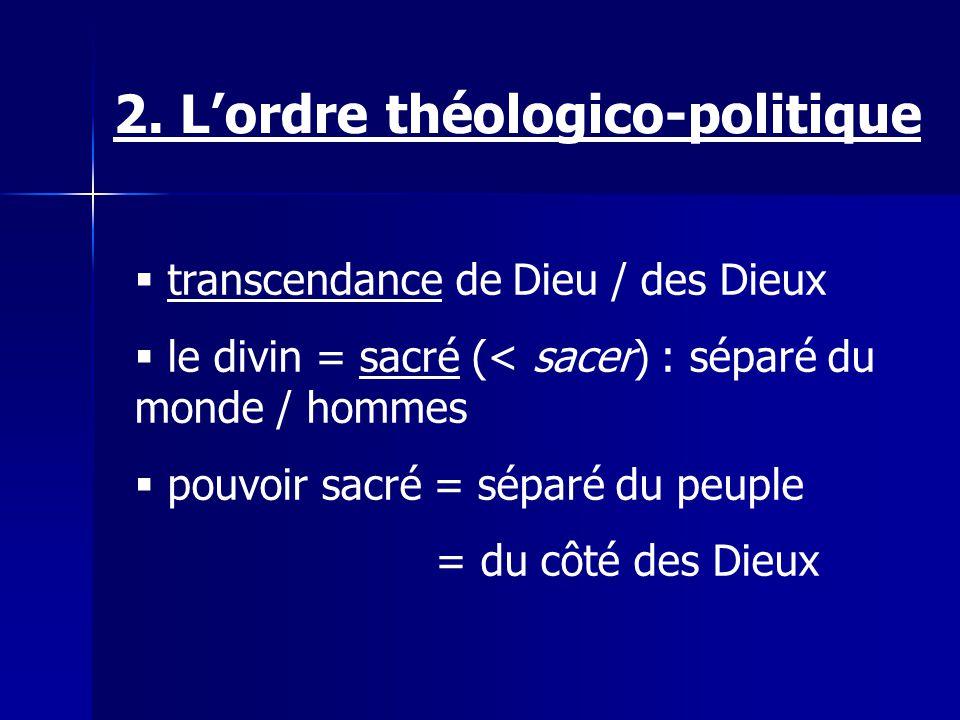 transcendance de Dieu / des Dieux le divin = sacré (< sacer) : séparé du monde / hommes pouvoir sacré = séparé du peuple = du côté des Dieux 2. Lordre