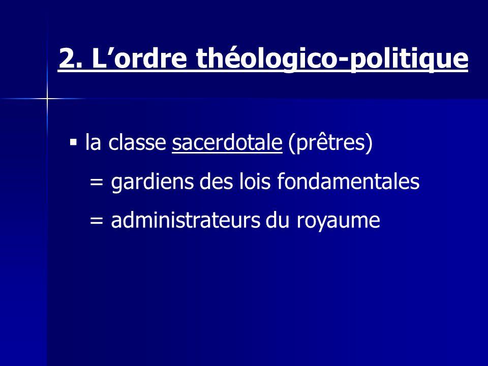 la classe sacerdotale (prêtres) = gardiens des lois fondamentales = administrateurs du royaume 2. Lordre théologico-politique