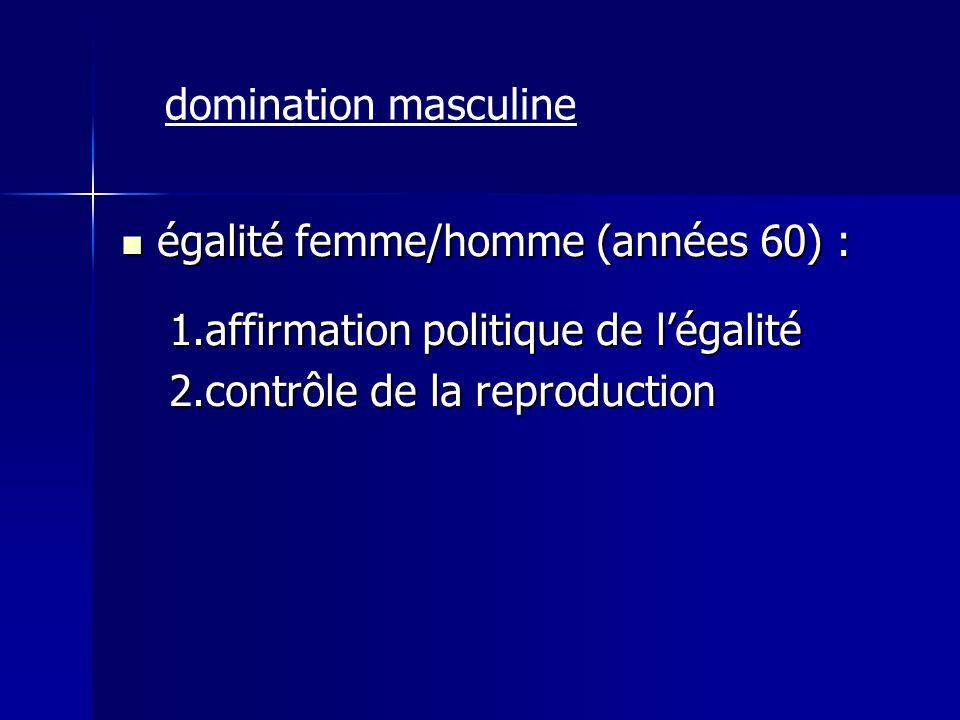 égalité femme/homme (années 60) : égalité femme/homme (années 60) : 1.affirmation politique de légalité 2.contrôle de la reproduction domination mascu