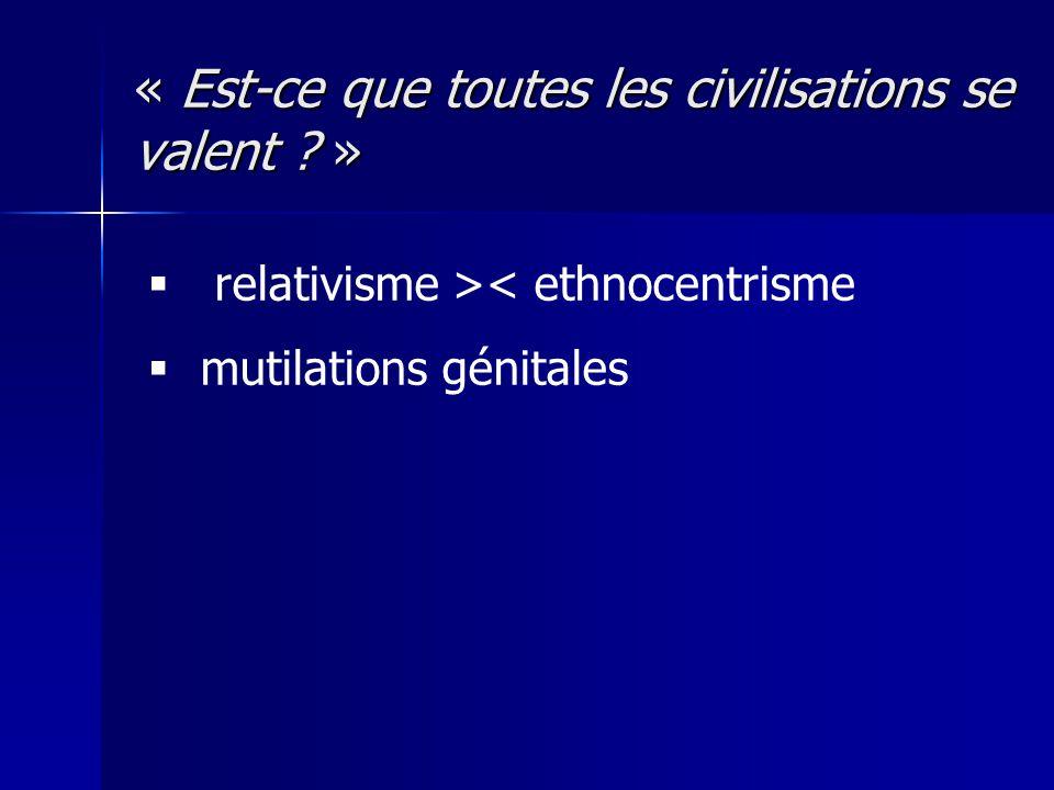 « Est-ce que toutes les civilisations se valent ? » relativisme >< ethnocentrisme mutilations génitales