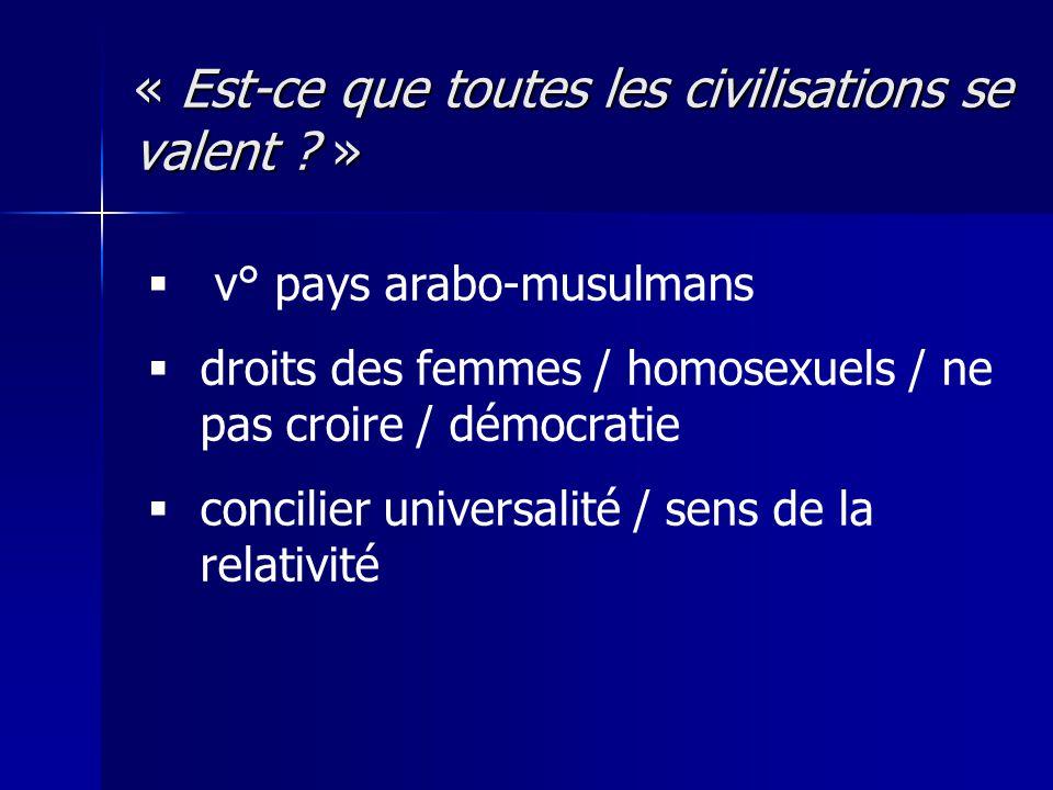 « Est-ce que toutes les civilisations se valent ? » v° pays arabo-musulmans droits des femmes / homosexuels / ne pas croire / démocratie concilier uni