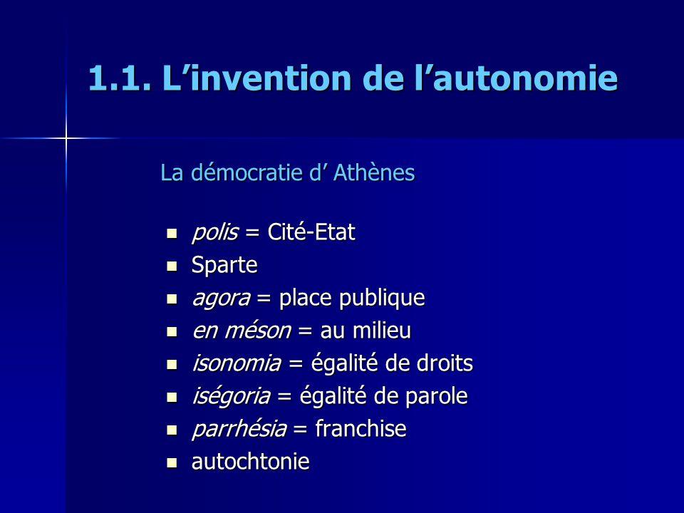 1.1. Linvention de lautonomie polis = Cité-Etat polis = Cité-Etat Sparte Sparte agora = place publique agora = place publique en méson = au milieu en