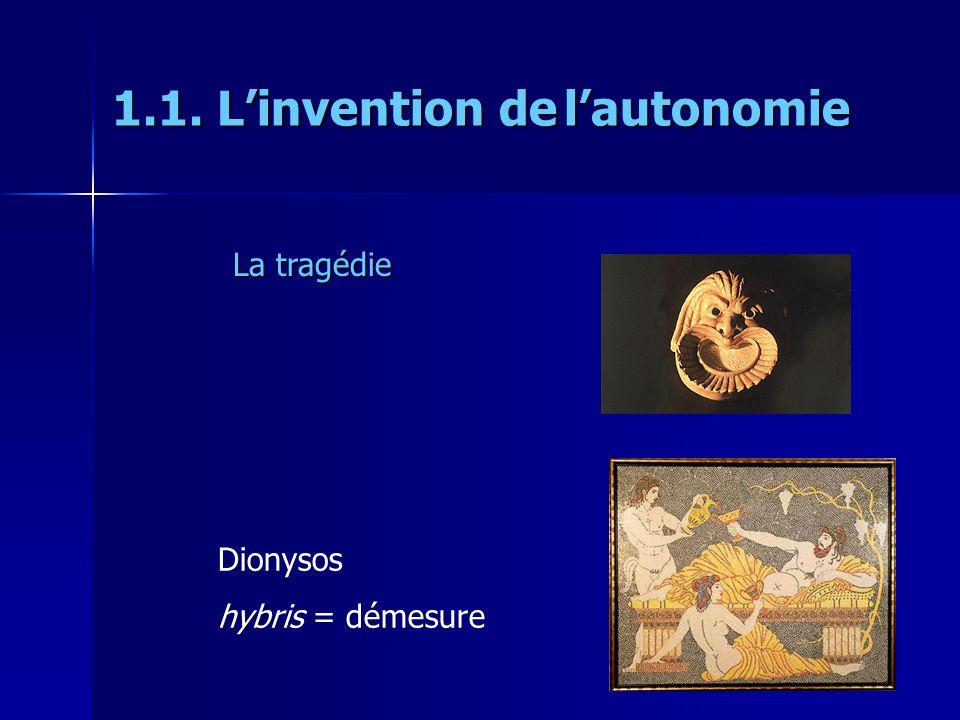 Dionysos hybris = démesure La tragédie 1.1. Linvention de lautonomie