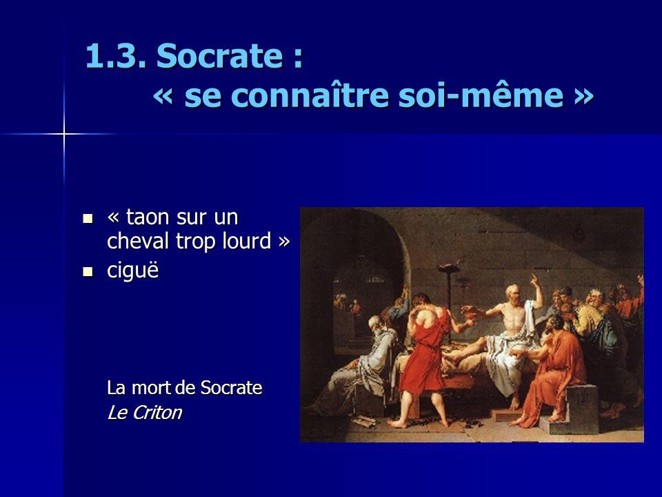 1.3. Socrate : « se connaître soi-même » « taon sur un cheval trop lourd » « taon sur un cheval trop lourd » ciguë ciguë La mort de Socrate Le Criton