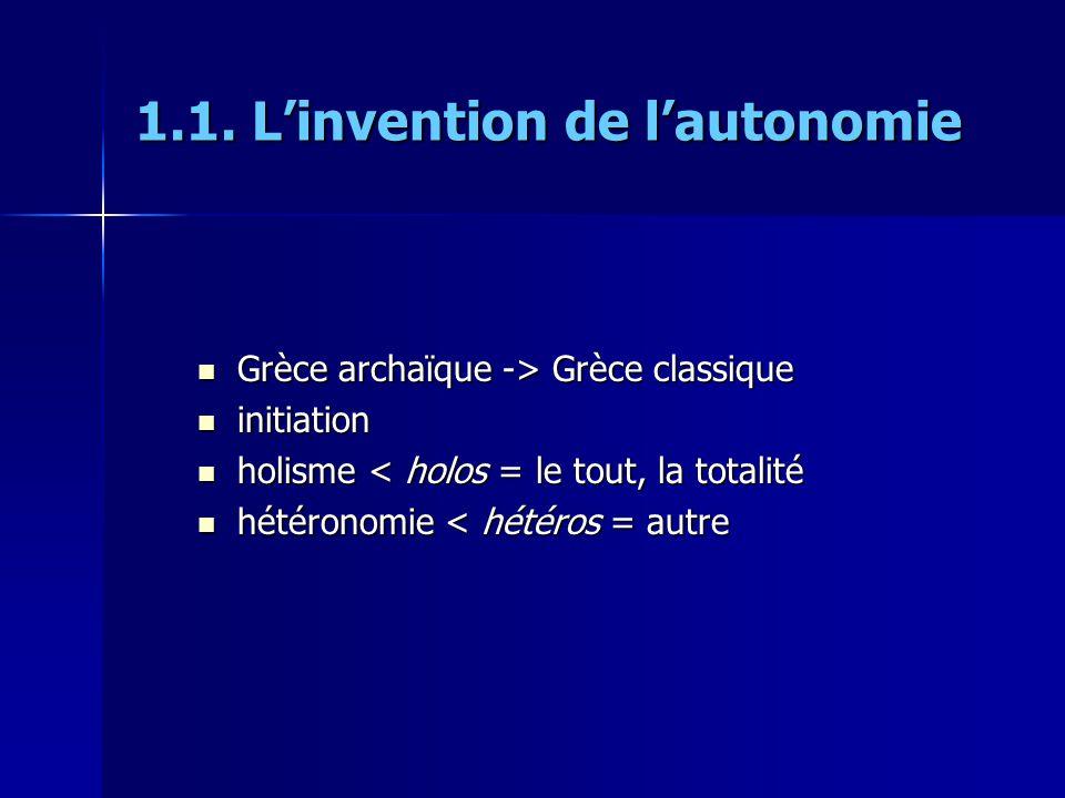 1.1. Linvention de lautonomie Grèce archaïque -> Grèce classique Grèce archaïque -> Grèce classique initiation initiation holisme < holos = le tout, l