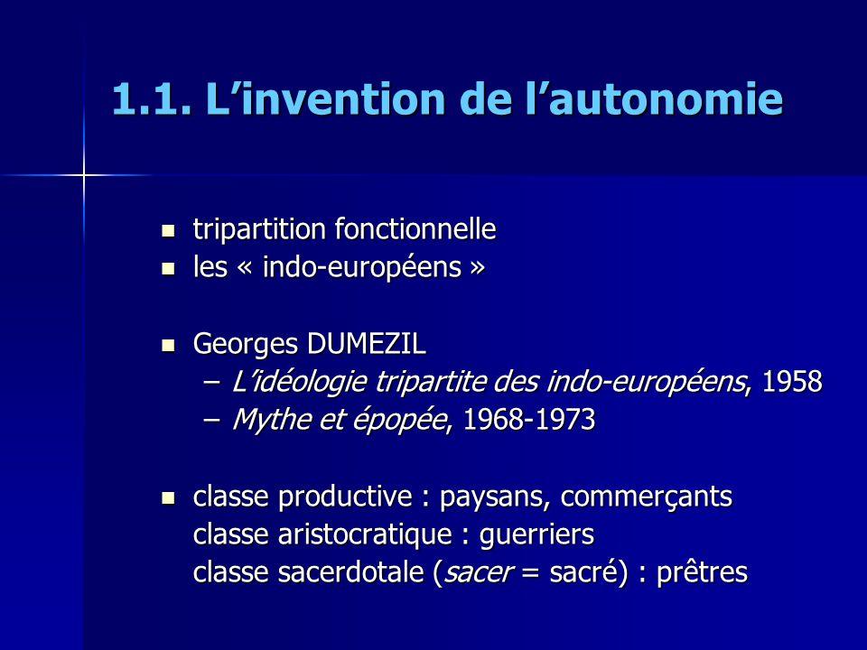 1.1. Linvention de lautonomie tripartition fonctionnelle tripartition fonctionnelle les « indo-européens » les « indo-européens » Georges DUMEZIL Geor
