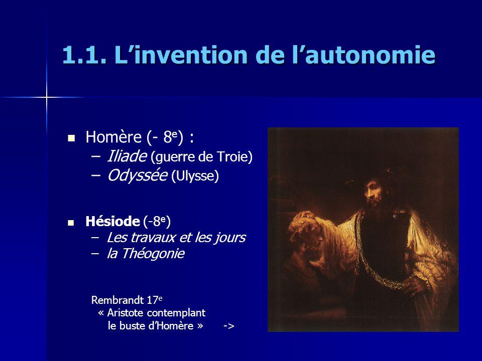 1.1. Linvention de lautonomie Homère (- 8 e ) : – –Iliade (guerre de Troie) – –Odyssée (Ulysse) Hésiode (-8 e ) – –Les travaux et les jours – –la Théo