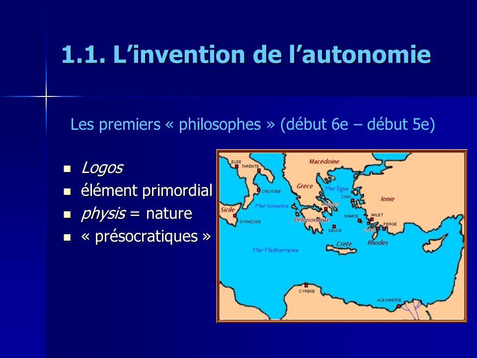 1.1. Linvention de lautonomie Logos Logos élément primordial élément primordial physis = nature physis = nature « présocratiques » « présocratiques »