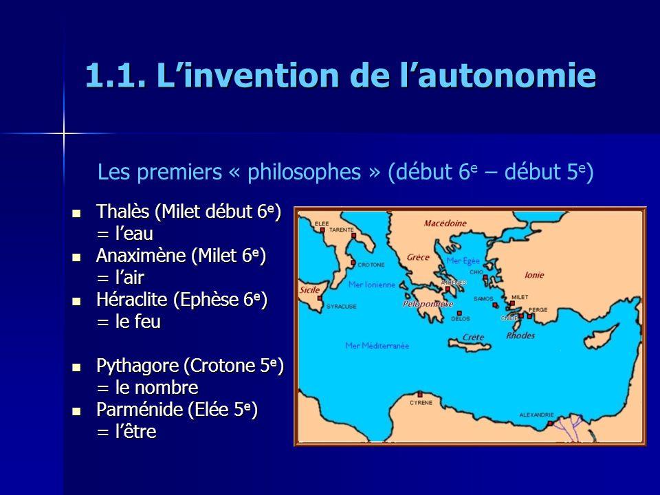 1.1. Linvention de lautonomie Thalès (Milet début 6 e ) Thalès (Milet début 6 e ) = leau Anaximène (Milet 6 e ) Anaximène (Milet 6 e ) = lair Héraclit