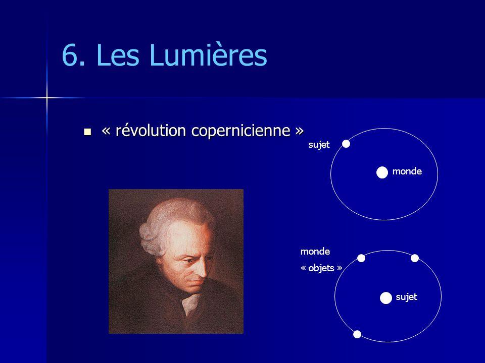 6. Les Lumières « révolution copernicienne » « révolution copernicienne » monde sujet monde « objets »